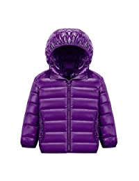 Happy Cherry Kids Quilted Packable Outwear Hoodie Lightweight Comfortable Puffer Jacket Windproof Outwear