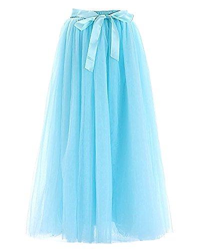 Facent Femmes 100cm 7 Couches Longueur au sol Tutu Tulle Jupons Bleu Ciel
