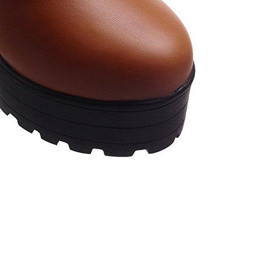 VogueZone009 Chiusa Punta Allacciare Donna Tacco Ballet Flats Luccichio Alto rqXSYrwxU