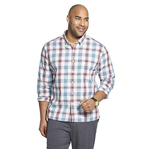 Van Heusen Men's Slim Fit Never Tuck Long Sleeve Button Down Check Shirt, Turquoise Mallard Blue, Large