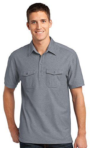 - Port Authority Oxford Pique Double Pocket Polo. K557, Monument Grey/White, S