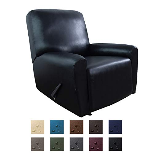 Easy-Going PU Leather Recliner slipcovers, Waterproof Stretch Sofa Covers, 4 Pieces Stretch Furniture Protector, Anti-Slip Elastic Strap Shield Pets Kids Children Cats Dogs(Recliner, Black)