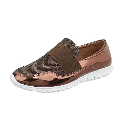 Chaussures De Sport Italienne Conception Faible Pour Femmes Loisirs Moderne J12g Bronze