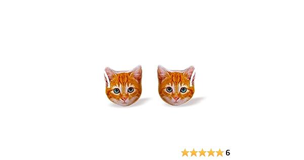 Orange kitten surgical steel earrings handmade Tiny Jewelry with linen cotton bag