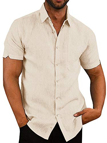 Pengfei Mens Short Sleeve Beach Shirts Linen Cotton Button Down Fishing Tees Spread Collar Plain Summer Shirts (Large, Beige) ()