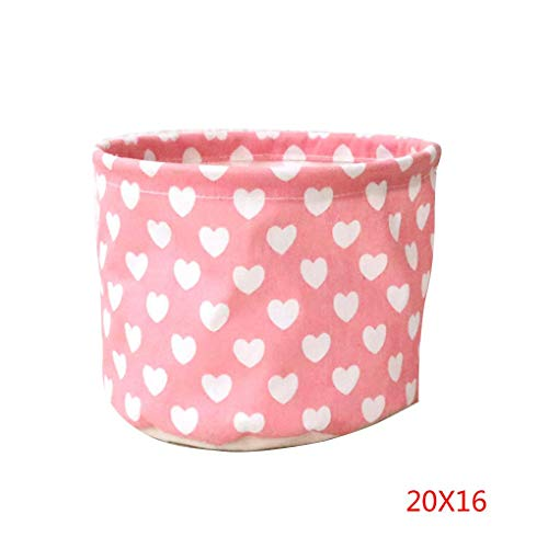 Boyouu Heart Space-Saving Storage Bags Cotton Linen Desktop Small Cute Table Sundries Basket Waterproof Jewelry Cosmetic Organizer(20x16cm)