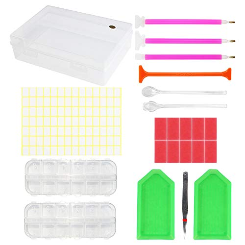 DIY Diamond Painting Tools Embroidery Storage Boxes,Cross Stitch Tools Accessory Case Set (23 Pieces)