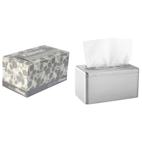 2-Pack Kimberly-Clark's Kleenex Stainless Steel Box Towel Cover With 18-Pack Kleenex 1-Ply Hand Towel Refill Bundle ()