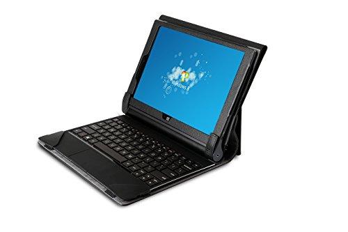 Die original GeckoCovers Lenovo Yoga 2 Hülle für das Lenovo Yoga 2 10.1 Zoll Tab - 2 in 1 Hülle Schutz für Tablet + Keyboard Tastaturschutz Case Cover Tasche mit Aufsteller - Mit original Gecko Applikation und Stand - und Präsentationsfunktion in der Farbe schwarz black (Yoga 2 10.1 Zoll, Tastaturschutzhülle schwarz)