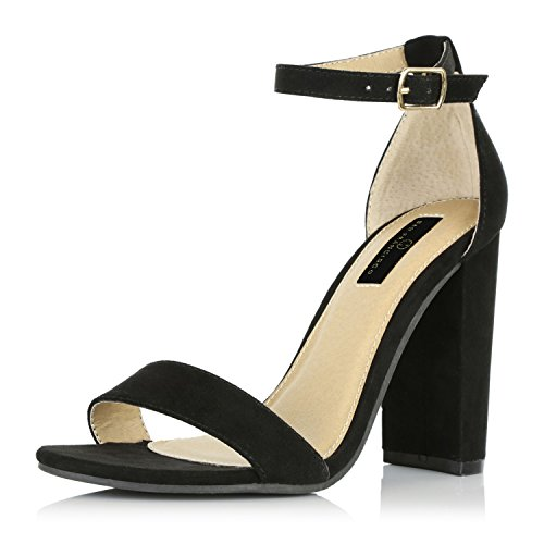 DailyShoes Women's Chunky Stacked Heel Sandal Open Toe Classic Wedding Pumps with Buckle Ankle Strap Casual Sandals Shoes, Black Suede, 7.5 B(M) - Toe Open Sandals Classic