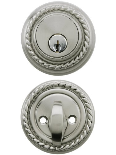 Forged Brass Single - Solid Brass Single Cylinder Rope Style Deadbolt Satin Nickel With 2 3/8