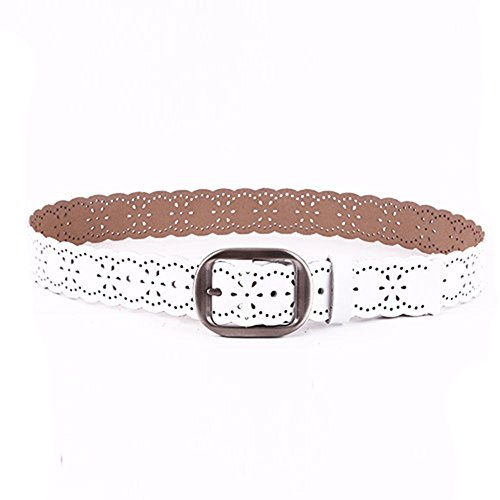 JasGood Women's Hollow Flower Genuine Cowhide Leather Belt With Alloy Buckle (White)