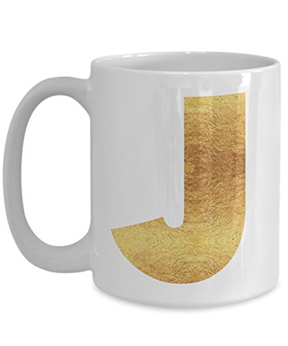 Gold Personalized Coffee (Personalized Gold Letter J Initial Ceramic Coffee Mug, Personal Monogram Coffee Mug Gift for Men or Women in Large Gold Letters)