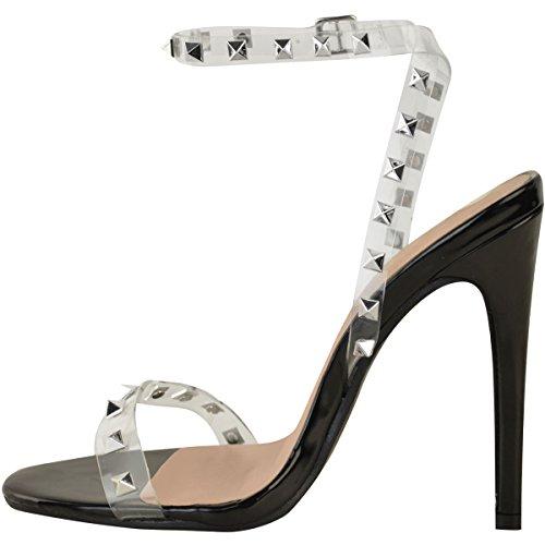 Stilleto Heel Size Party Sandalen patentiert Rock Perspex Damen schwarz High Stud Prom Neue Damen vfqwp5RR