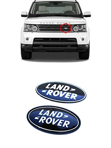 Land Rover style Logo Badges Emblems Stickers for Front Grille and Tailgate - for Land Rover Range Rover vehicles - Black color oval emblem - Set 2 pcs