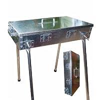 Spießgrill XXL silber Skewer Grill Garten Camping Balkon Picknick ✔ eckig ✔ tragbar ✔ stehend grillen ✔ Grillen mit Holzkohle