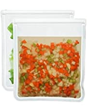 Reusable Gallon Food Storage Bags (Pack of 2) BPA FREE PEVA Washable Freezer Bags for Marinate Meat, Storing Fruit, Cereal, Sandwich, Snack, Travel Items