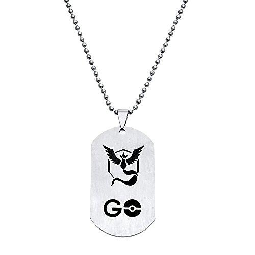 [JewelryX - Team Mystic Game Pokemon Go Ball Pokeball Army Military Dog Tag Charm Pendant Necklace Women] (Pokemon X And Y Ash Costume)