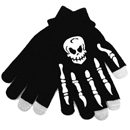 Amosfun Skull Winter Warm Gloves Touch Screen Gloves Windproof Sports Gloves Halloween Costumes for Riding Cycling Mountaineering Skiing (Black + White Skull) -
