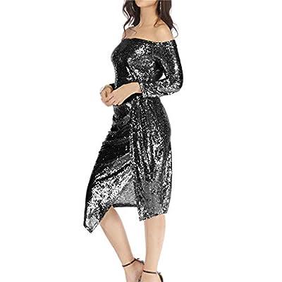 UOFOCO Womens Sequin Dress Off Shoulder Bag Hips Open Collar Collar Dinner Party Dress