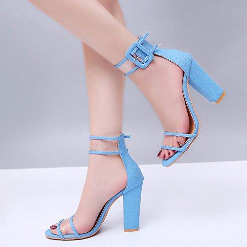 Sexy Transparent 85mm Hauts Ubeauty Pumps Sangle À Pvc Escarpins Bleu Femme Chaussures Cheville De Talon Bloc Talons n4Upq