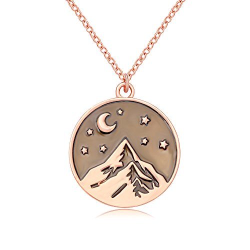 SENFAI Mountain Top Star Half Moon Pendant Necklace Perfect Gift for Climbing Hiking Sports (rose (Mountain Necklace)
