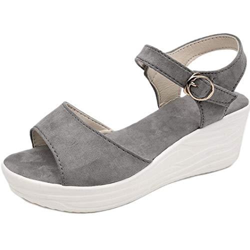 BEOTARU Women Wedges Sandals Thick Bottom All-Match Buckle Open Toe Comfortable Soft Platform Sandal]()