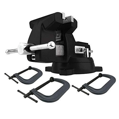 3 Piece Vise - Wilton 21500K Holding Strong Kit, Black 746 Mechanics Vise & 3-Piece 400 Series C-Clamp Set