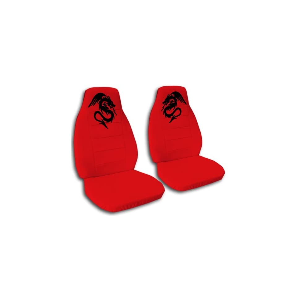 1997 Jeep Wrangler TJ seat covers. One front set of seat covers. Red seat covers with a black dragon