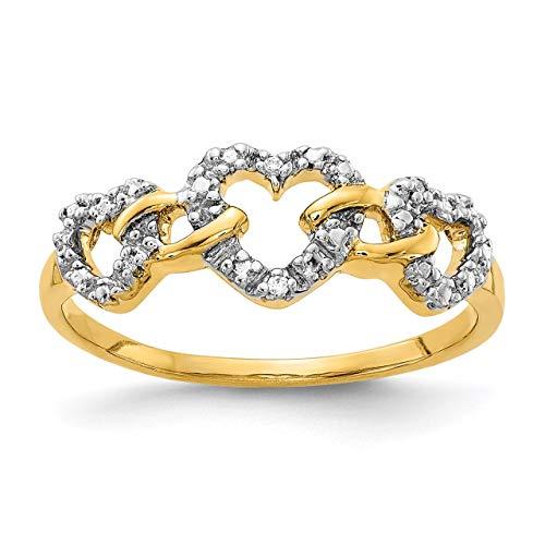Lex & Lu 14k Yellow Gold Diamond Triple Heart Ring Size 7-Prime