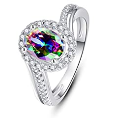 Created Rainbow Mystic Topaz Rings 1.Rainbow Mystic Topaz , making the rings stunning to catch the eyes;  2.High polish smooth inner face, comfortable wearing;  3.Chic Silver jewelry are genuine 925 Sterling Silver,hypoallergenic, safe for se...
