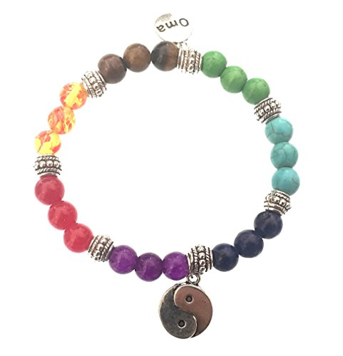 7 Chakra Semi Precious Stones Tibetan Buddhist Meditation and Healing Bracelet With Ying Yang Charm - OMA Brand by OMA (Image #5)