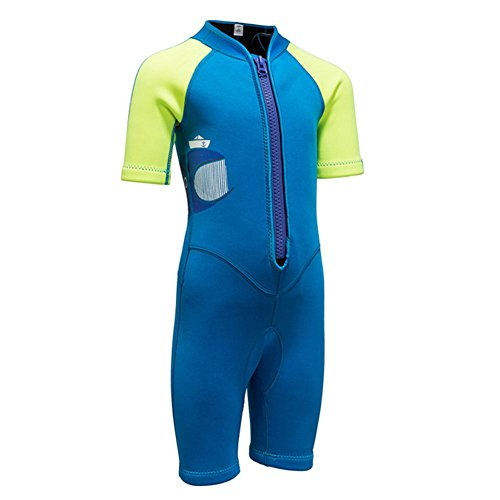 2MM Neoprene One Piece Short Sleeve Wetsuits for Kids Boys Girls Front Zipper Swimsuit UV Protection (Green Blue, ()