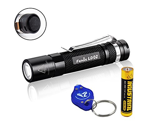 Fenix LD02 100 Lumens Mini Pen Light LED Flashlight w/ 1xAAA battery and a Lumen Tactical key chain (Mighty Mini Flashlight)