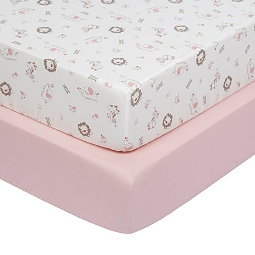 Crib Sheet Set Printed Elephant Giraffe Element  Toddler Sheet Set 2 Pack 100% Jersey Cotton Fitted for Baby Bed and Standard Mattress, Soft & Breathable Toddler Sheets 28