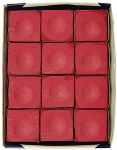 One Dozen Red Silver Cup Pool Cue Chalk