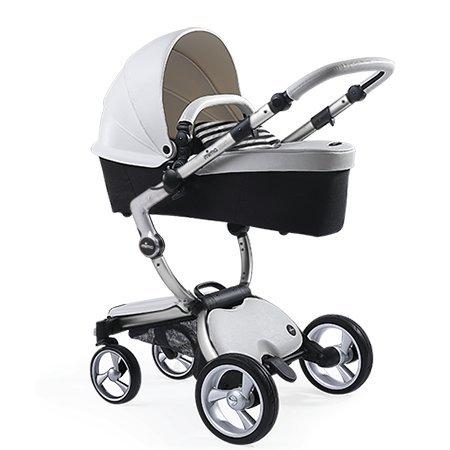 Mima Xari Stroller Aluminum Chassis Snow White Seat Black and White Starter Pack, Aluminum, White, Black