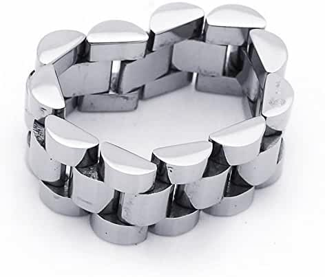 9MM Stainless Steel Watch Band Style Link Flexible Wedding Band Ring (Size 8 to 13)