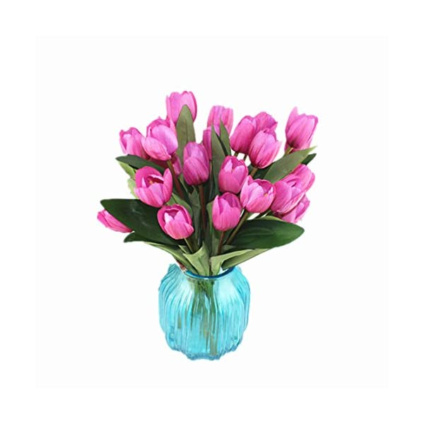 Mynse 2 Bunchs 9 Heads Fake Silk Tulips Flower for Home Furnishing Living Room Decoration Shooting Props Artificial Tulips Flower Bouquet Pink