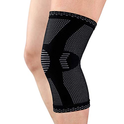 Cosy Pyro Knee Brace,Compression Knee Sleeve,Knee Support for Running,Arthritis,Basketball,Yoga,Squats,Workout,Fitness,Sports Knee Braces for Women Men Black Single L ()