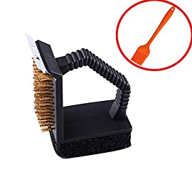 BERTERI 3 in 1 BBQ Grill Brush Scrapers for Barbecue Cleaning with 1 Free Silicone Basting Brush, Multifunction - Comfortable Handle, Perfect Cleaner Scraper for Grill Cooking Grates/Racks/Burners 138 HIGH QUALITY - This grill cleaner has high quality brass bristles, metal scraper, and scrub pad. UNIQUE DESIGN - The solid stainless steel scraper perfectly angled to help penetrate and clear away stuck-on grime. LONG LASTING - The bristle is great for all surfaces including porcelain, stainless steel and cast iron;The sponge scrubber helps to wipe grill clean, ergonomic design plastic handle is easy and comfortable.