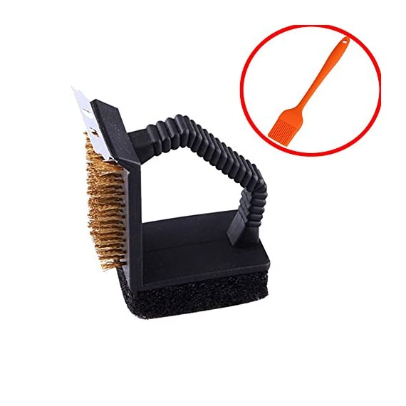 BERTERI 3 in 1 BBQ Grill Brush Scrapers for Barbecue Cleaning with 1 Free Silicone Basting Brush, Multifunction - Comfortable Handle, Perfect Cleaner Scraper for Grill Cooking Grates/Racks/Burners 1 HIGH QUALITY - This grill cleaner has high quality brass bristles, metal scraper, and scrub pad. UNIQUE DESIGN - The solid stainless steel scraper perfectly angled to help penetrate and clear away stuck-on grime. LONG LASTING - The bristle is great for all surfaces including porcelain, stainless steel and cast iron;The sponge scrubber helps to wipe grill clean, ergonomic design plastic handle is easy and comfortable.