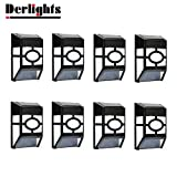 [Pack of 8] Derlights® Waterproof Solar Wall Light, Solar Fence Lights, Led Solar