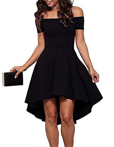 (Naivikid Women's Short Sleeve Casual Off Shoulder Dresses Black XL)