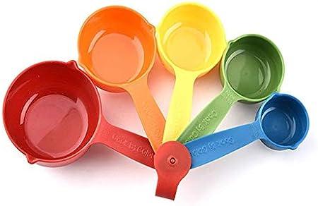 Juego de 5 tazas medidoras de plástico coloridas para cocina, con mango ergonómico, cuchara para hornear tartas de azúcar, para el hogar, cuchara medidora colorida