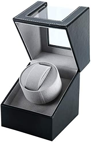 Homend Single Watch Winder in Black Leather, Quiet Japanese Mabuchi Motor, Battery (now not Included) Powered or AC Adapter