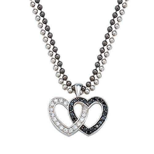 - Montana Silversmiths Crystal and Black Double Heart Pendant Necklace