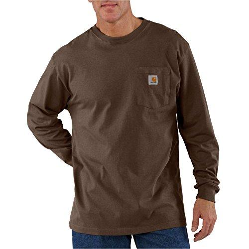 (Carhartt Men's Size Workwear Pocket Long Sleeve T Shirt-Big/Tall, Dark Brown, Large)