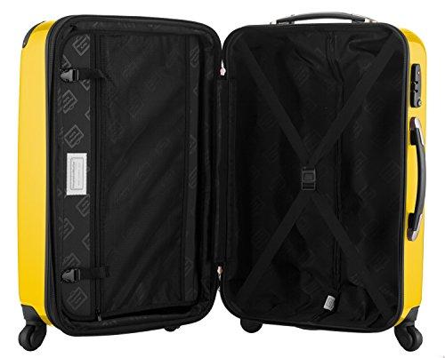 HAUPTSTADTKOFFER® 119 Liter Hartschalen Koffer · (75 x 52 x 32 cm) · Hochglanz · TSA Zahlenschloss · GELB