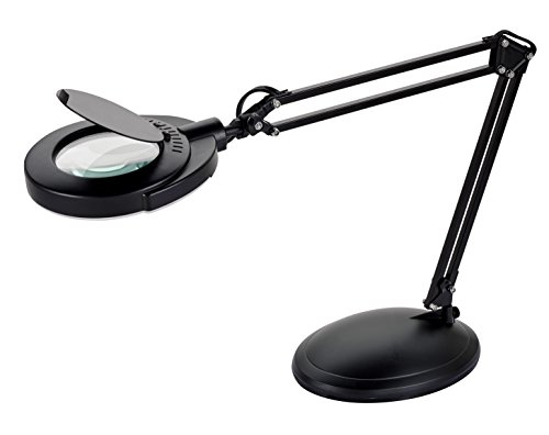 V-LIGHT Energy Saving 4.8W LED Magnifier Task Lamp with 3 Diopter Glass Lens and Desktop Base (VSL40203B)